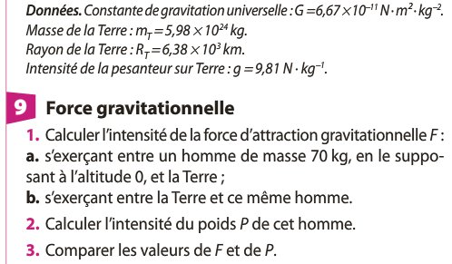 exercices gravitation universelle seconde